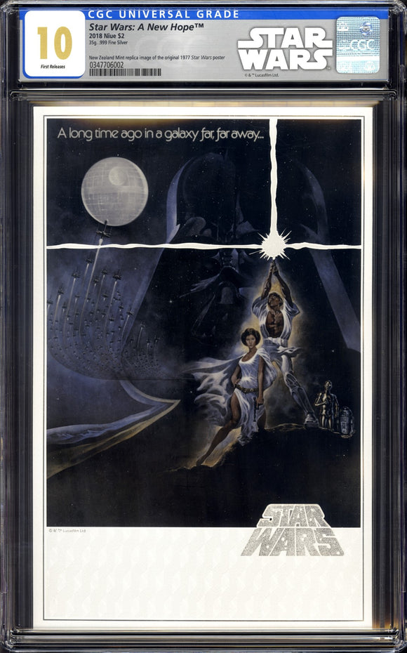Star Wars: A New Hope - New Zealand Mint Premium Silver Foil - CGC 10 GEM MINT - FIRST RELEASE