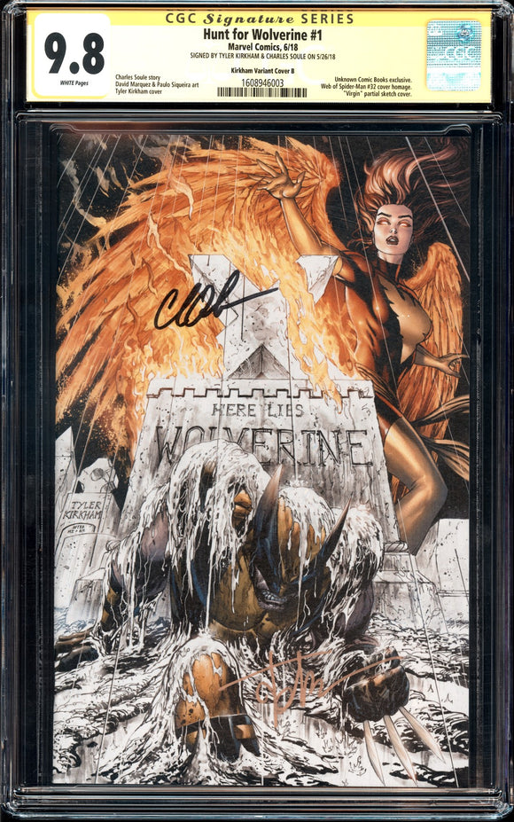 Hunt for Wolverine #1 - CGC SS 9.8 - Kirkham Cover B (Virgin Partial Sketch) - 2x signed