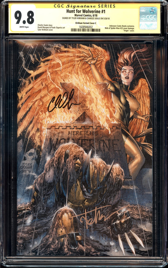 Hunt for Wolverine #1 - CGC SS 9.8 - Kirkham Cover C (Virgin) - 2x signed