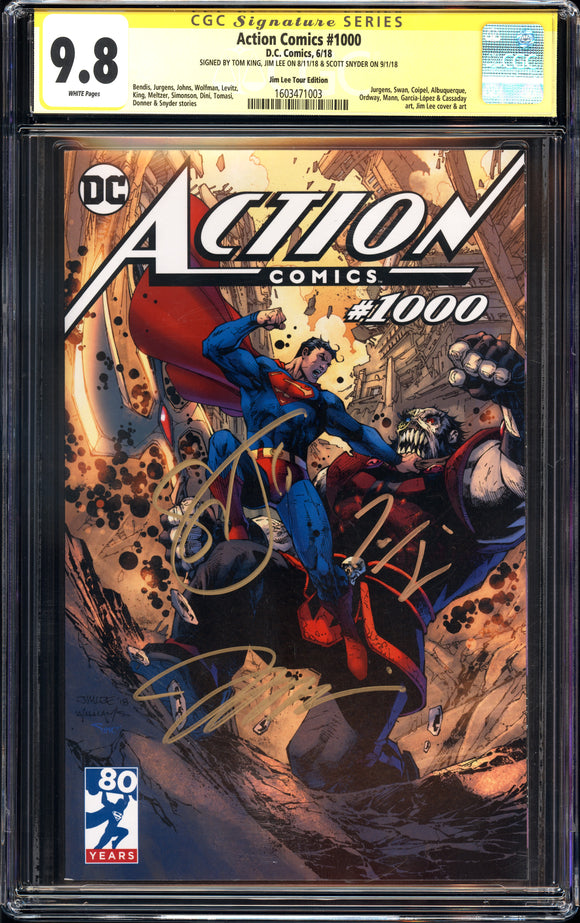 Action Comics #1000 - Jim Lee Tour Edition - CGC SS 9.8 - 3 x Signed