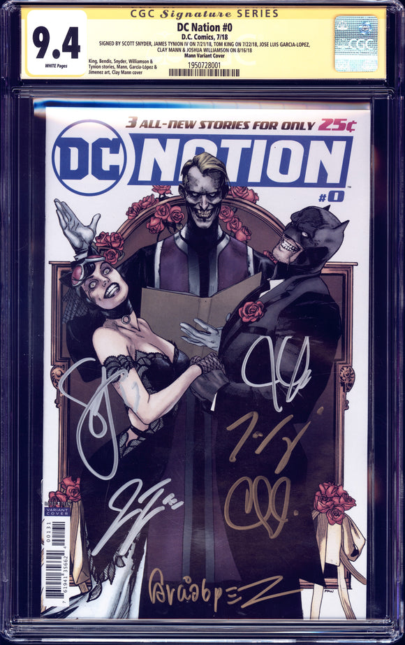 DC Nation #0 - Mann Variant Cover - CGC SS 9.4 - 6x singed