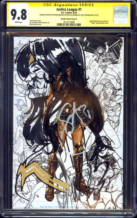 Justice League #1 - Brooks Variant Cover D - CGC SS 9.8 - 2x Sig & Sketched