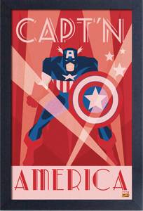 CAPTAIN AMERICA ART DECO FRAMED 11X17 PRINT (C: 1-1-2)