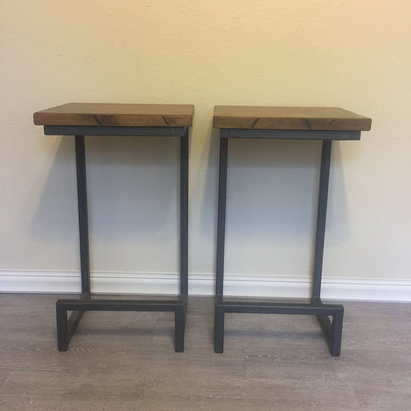 Barstools-Oak Seats-Dark Gray Metal