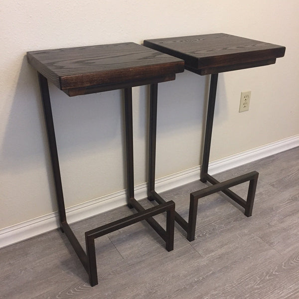 Barstools-Ash Seats-Brown Patina Metal