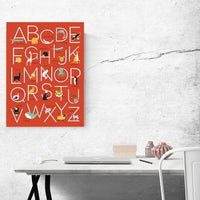 Alphabet Animal Wall Poster in Red