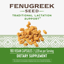 Load image into Gallery viewer, Nature's Way Fenugreek Lactation Support 1220mg  180 Caps