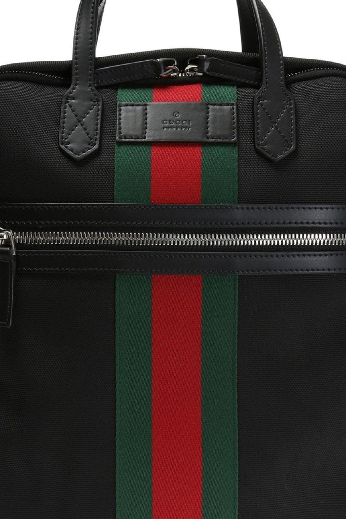 Backpack by Gucci , Black Canvas with Green and Red Web Stripe