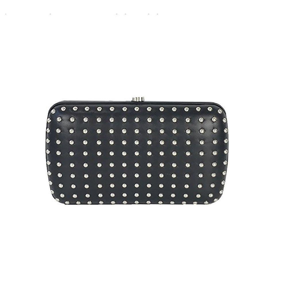 56adaa71473 Clutch by Gucci - Women s Classic Black Leather Silver Studded Evening  Clutch Small