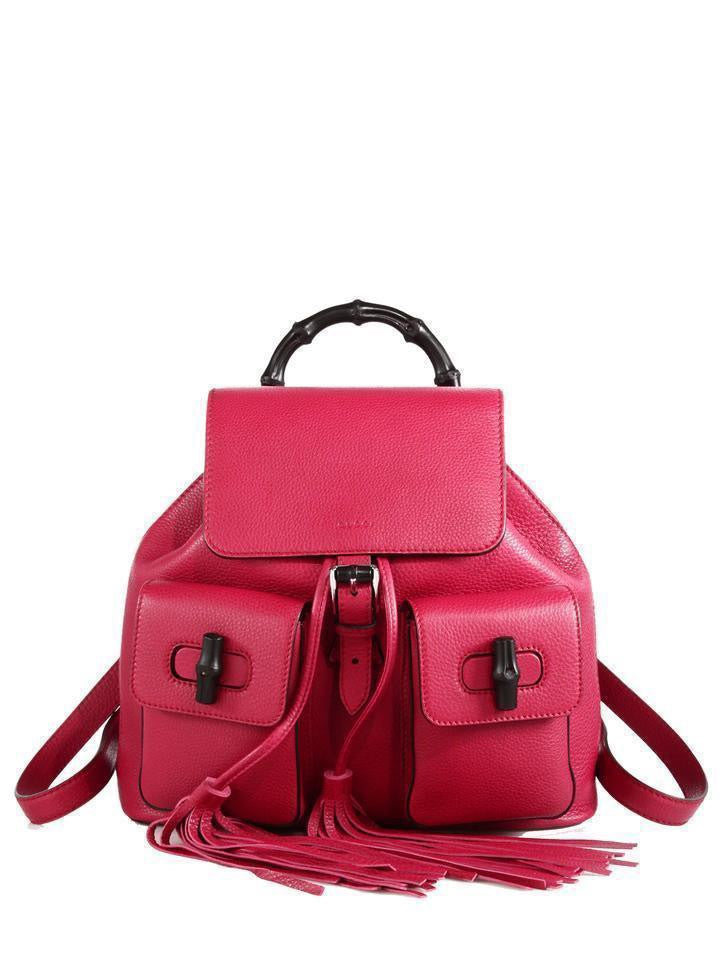 83f1351bab81 Pink Backpack by Gucci - Women's Pink Bamboo Toggle Leather Tassel Backpack  Sac