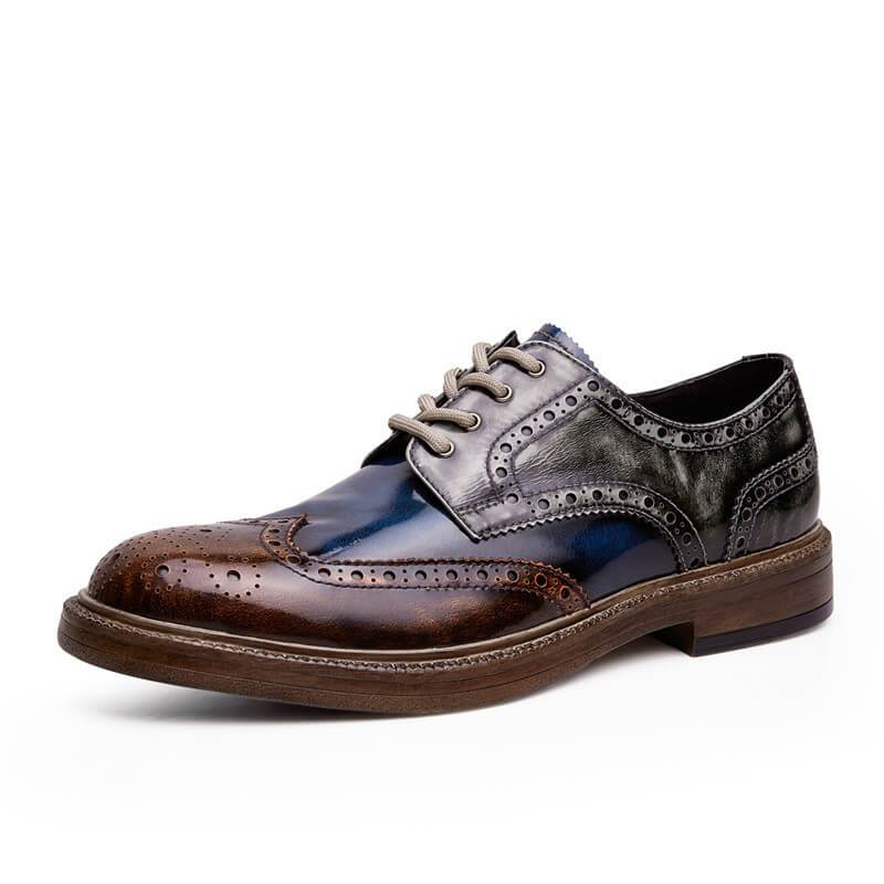Handmade  Brush  Tricolor Splice Brogue Leather Shoes - mwsshoe