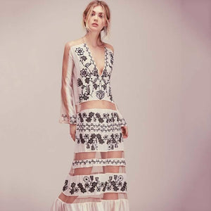 Bohemian V-neck Dress - mwsshoe