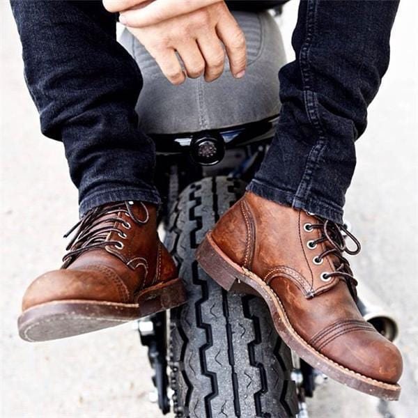 Men Retreo Style Leather Ankle Boots