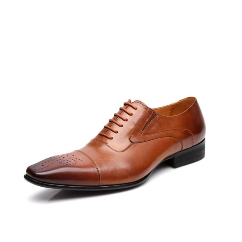 Men Brogue Oxford Leather Shoes - mwsshoe