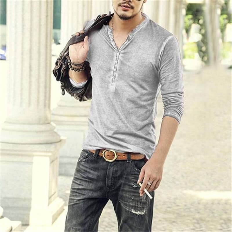 Men Vintage Casual Long Sleeve T-shirt