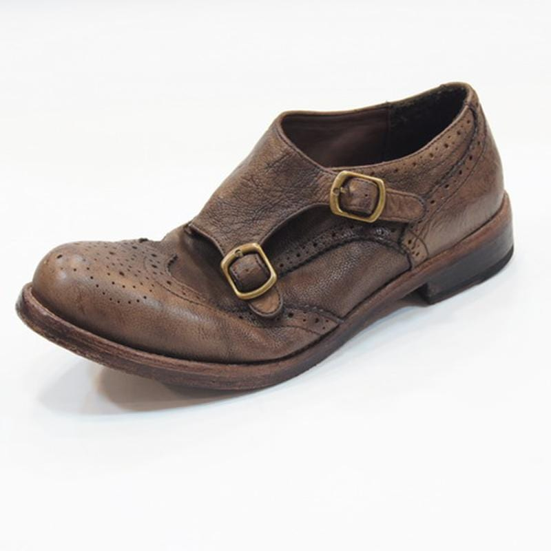 Men Vintage Leather Monk shoes