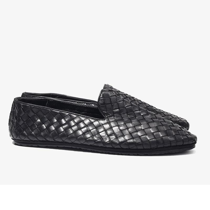 Handwoven Men Leather Comfy Slip-On Shoes