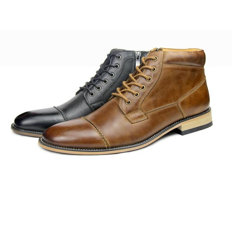 Men Casual Leather High-top Boots - mwsshoe