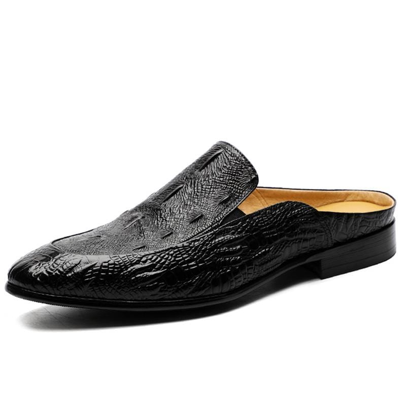 Soft Bottom Men's Crocodile Leather Slippers