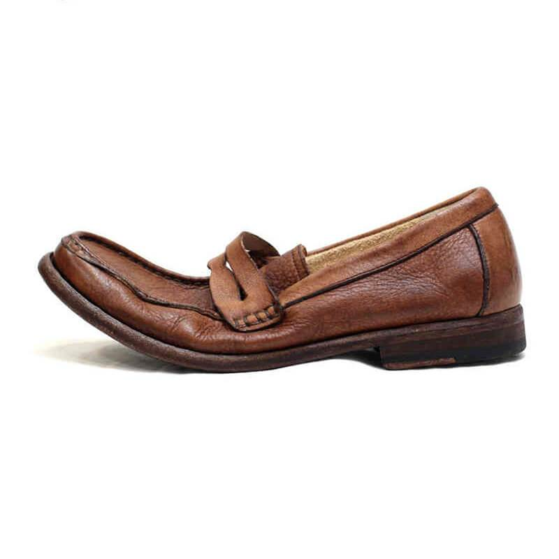 Men Handmade Vintage Leather Loafers - mwsshoe