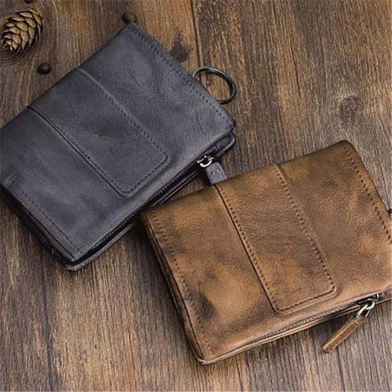 Handmade Vintage Zipper Leather Wallet - mwsshoe
