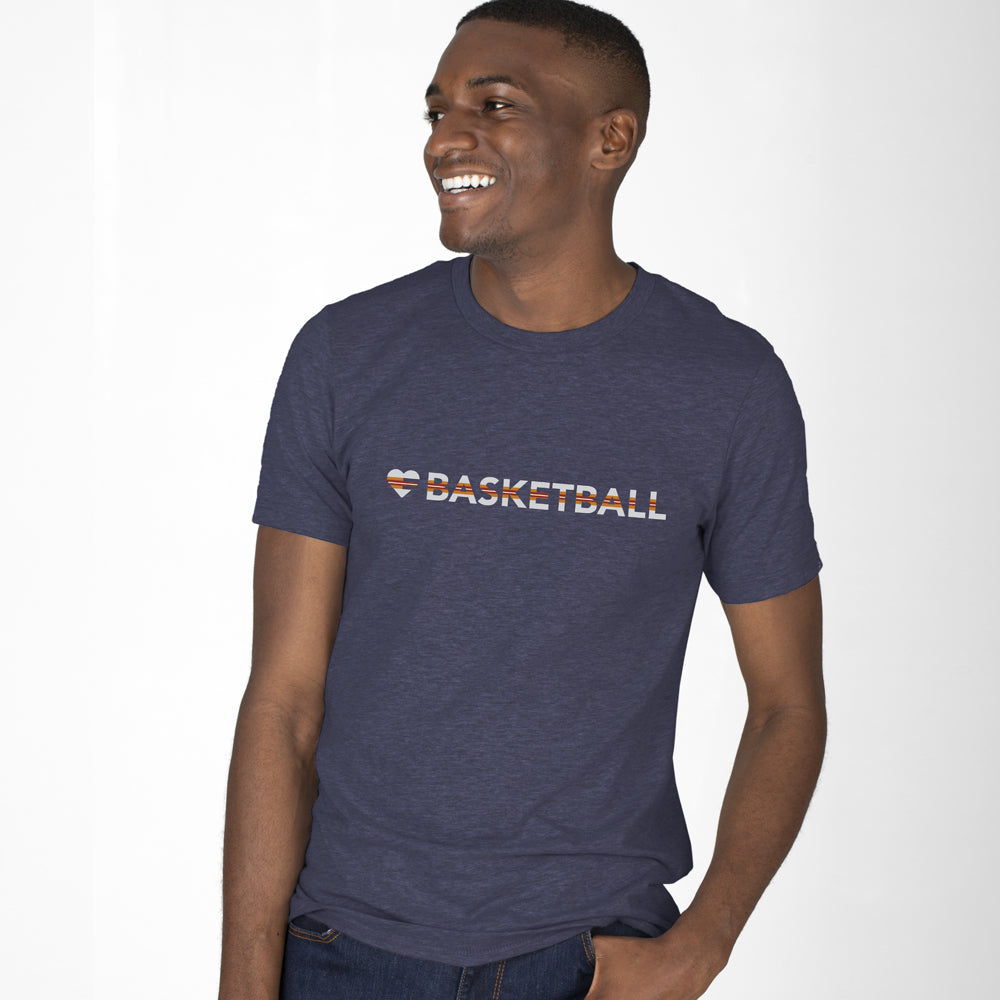 Heather Midnight Navy Heart=Basketball Unisex Tee