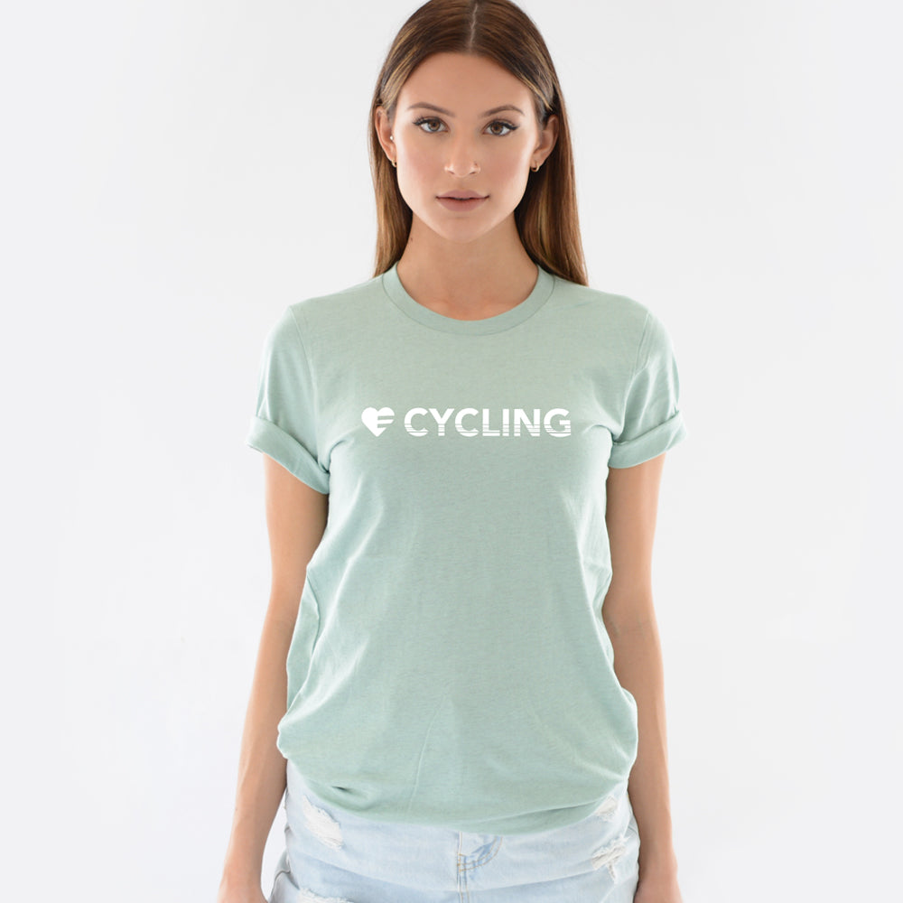 Heather Prism Dusty Blue Heart=Cycling Unisex Tee