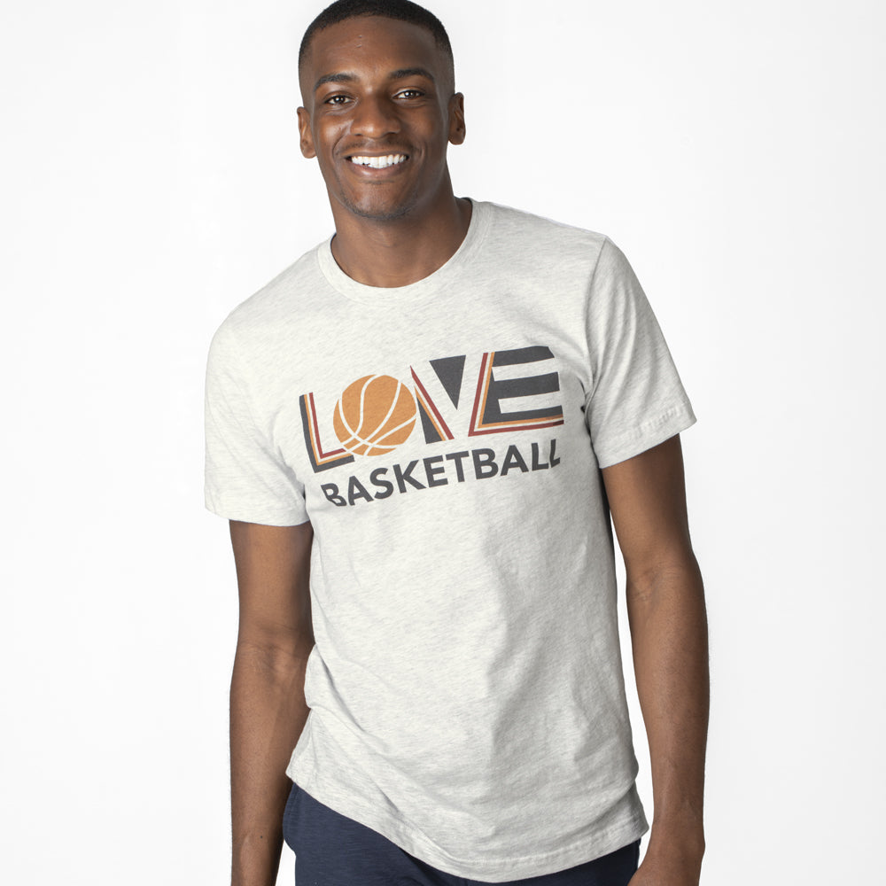 White LOV=Basketball Unisex Tee