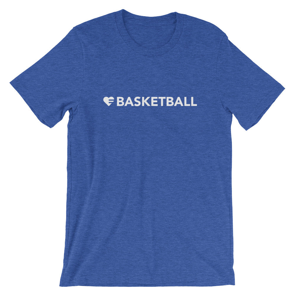 Heather True Royal Heart=Basketball Unisex Tee