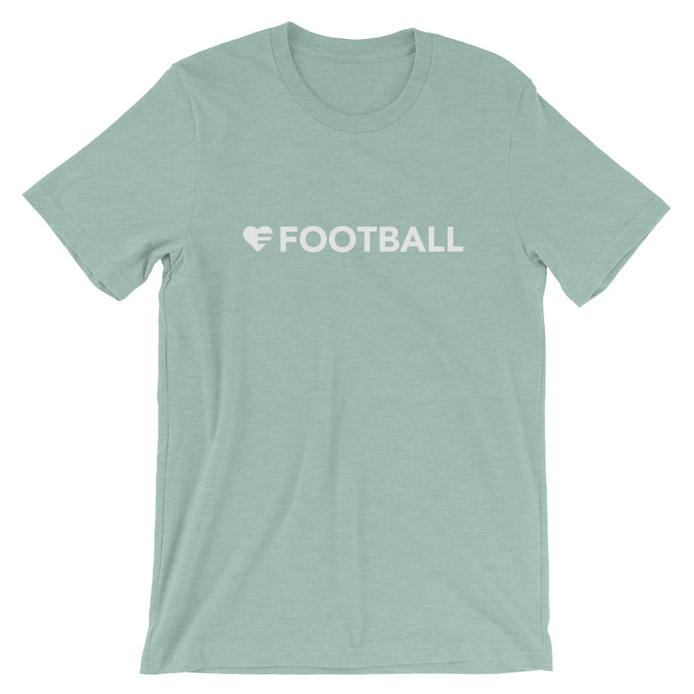 Heather Prism Dusty Blue Heart=Football Unisex Tee
