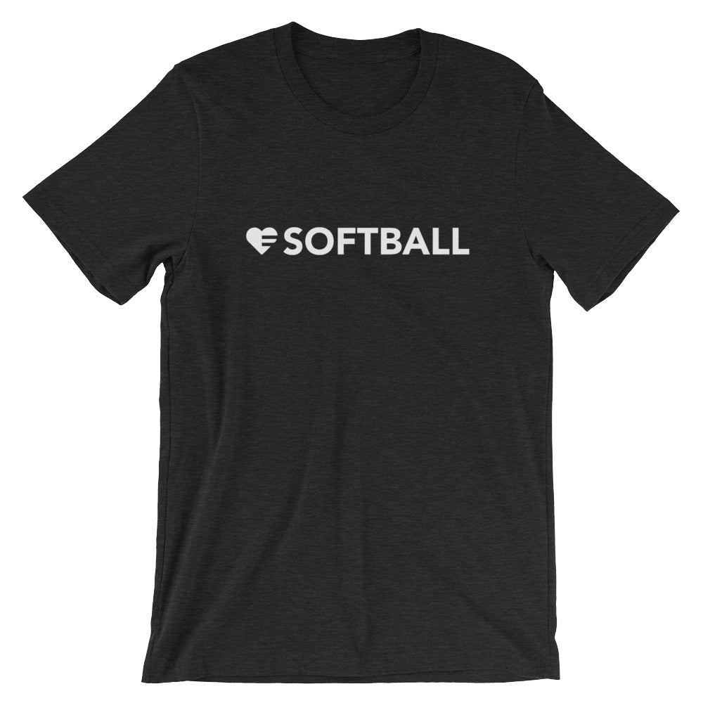 Black heather Heart=Softball Unisex Tee