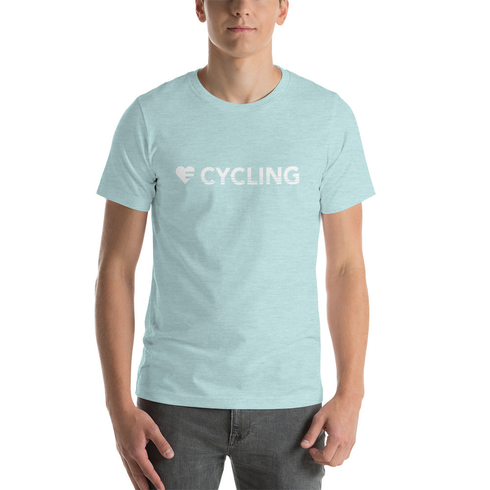 Prism Ice Blue Heart=Cycling Unisex Tee