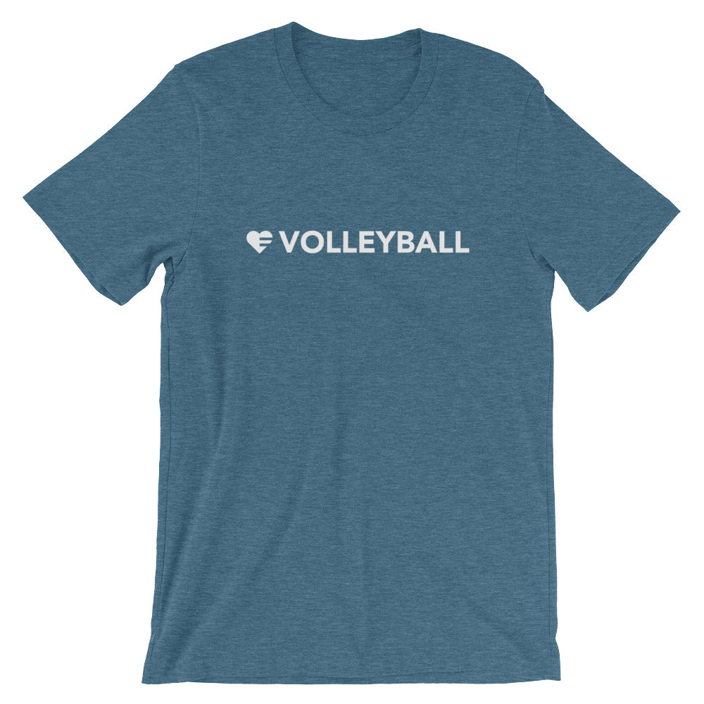 Heather deep teal Heart=Volleyball Unisex Tee