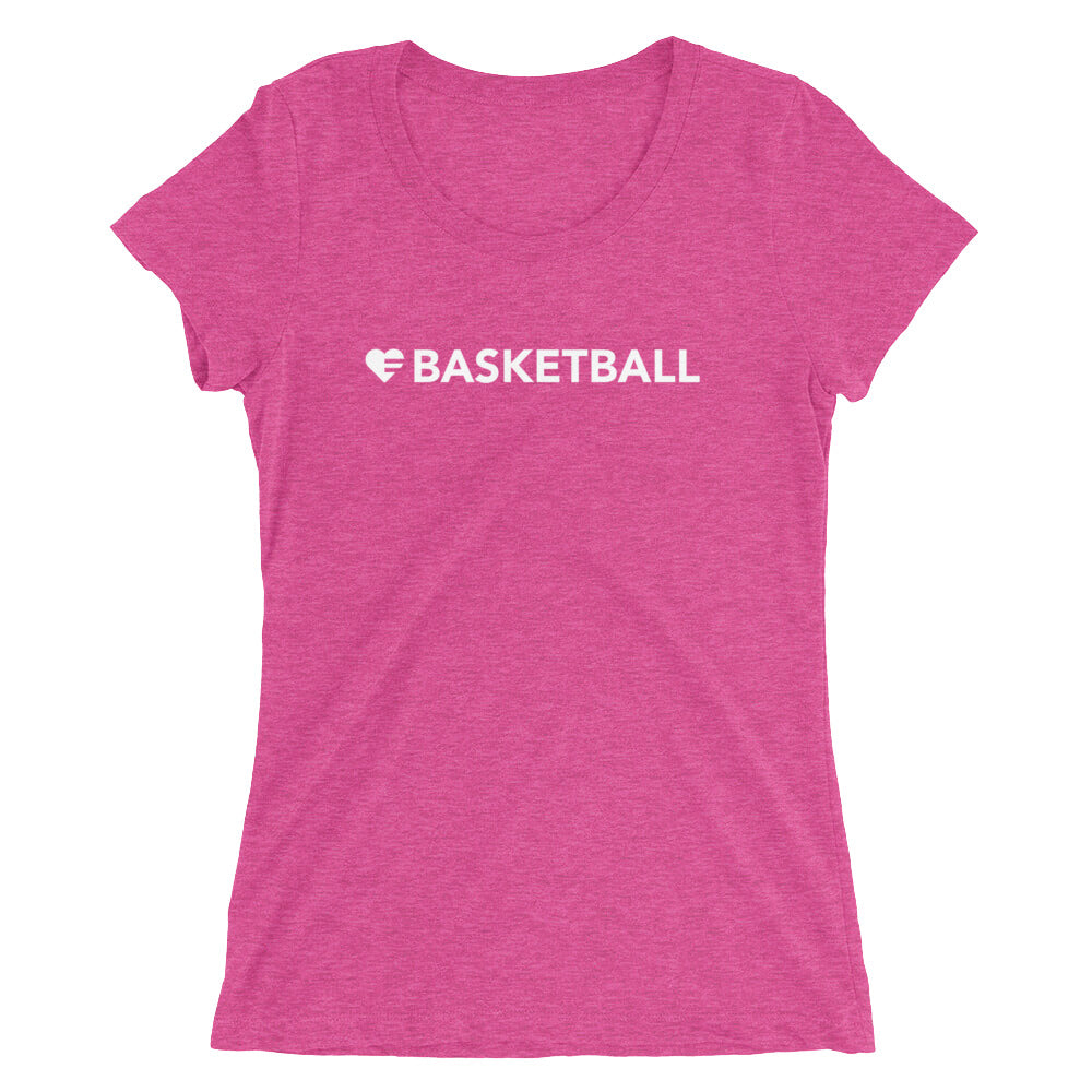 Berry Heart=Basketball Ultra Slim Fit Triblend Tee