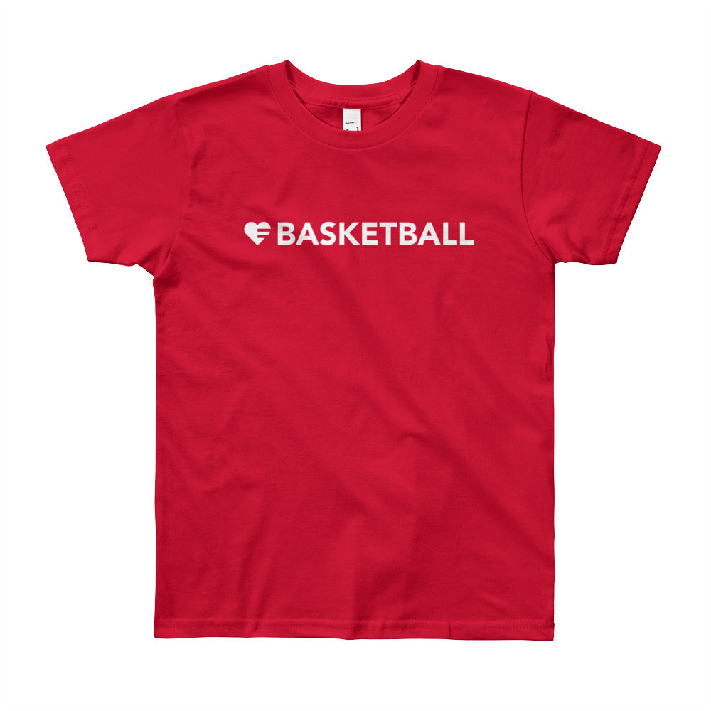 Red Heart=Basketball Youth Tee