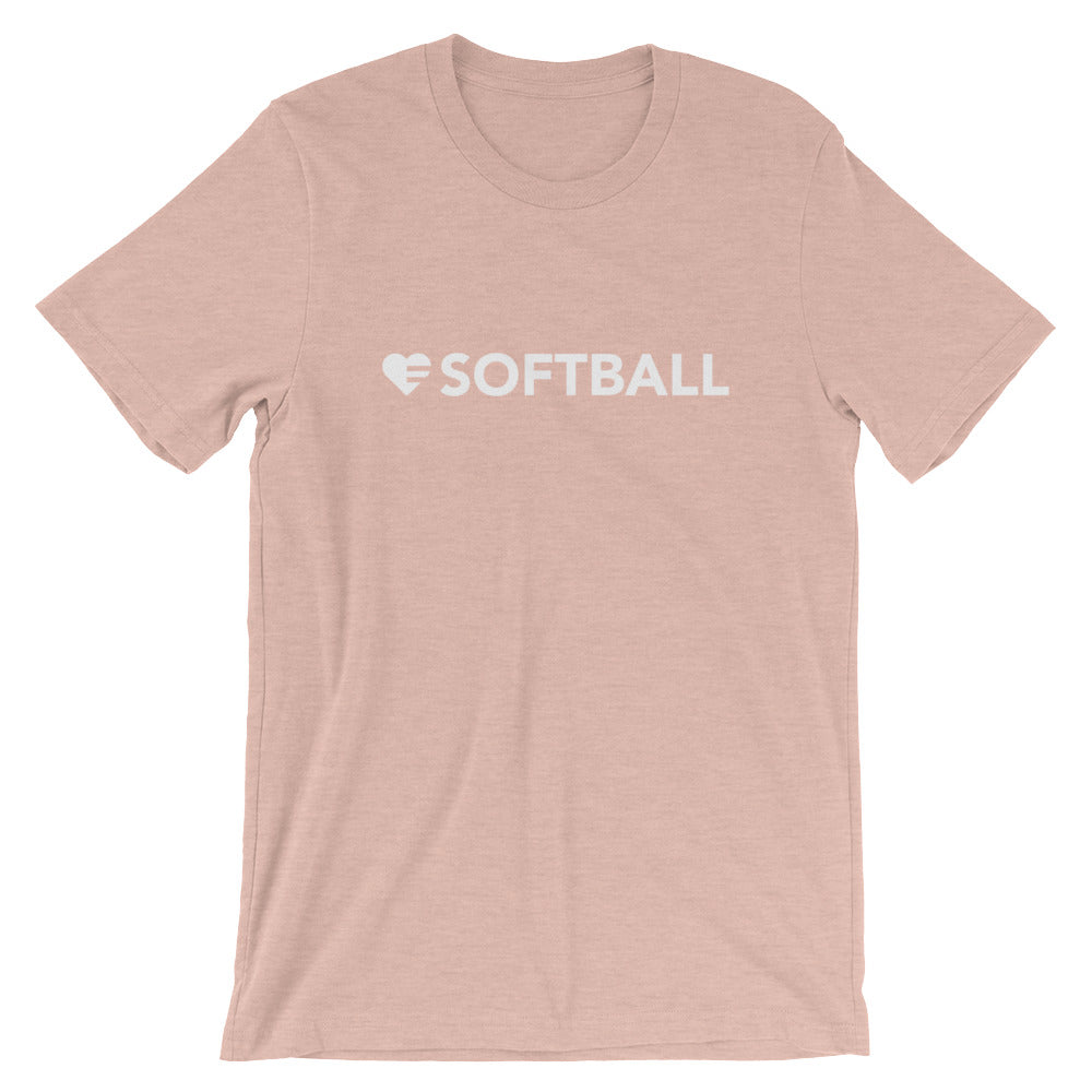 Heather prism peach Heart=Softball Unisex Tee