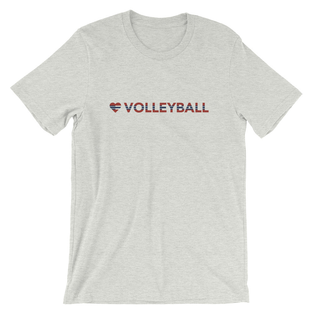 Black heather Heart=Volleyball Unisex Tee