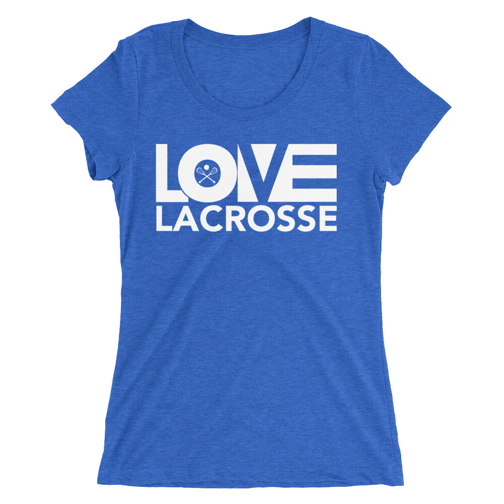 True royal LOV=Lacrosse Ultra Slim Fit Triblend Tee