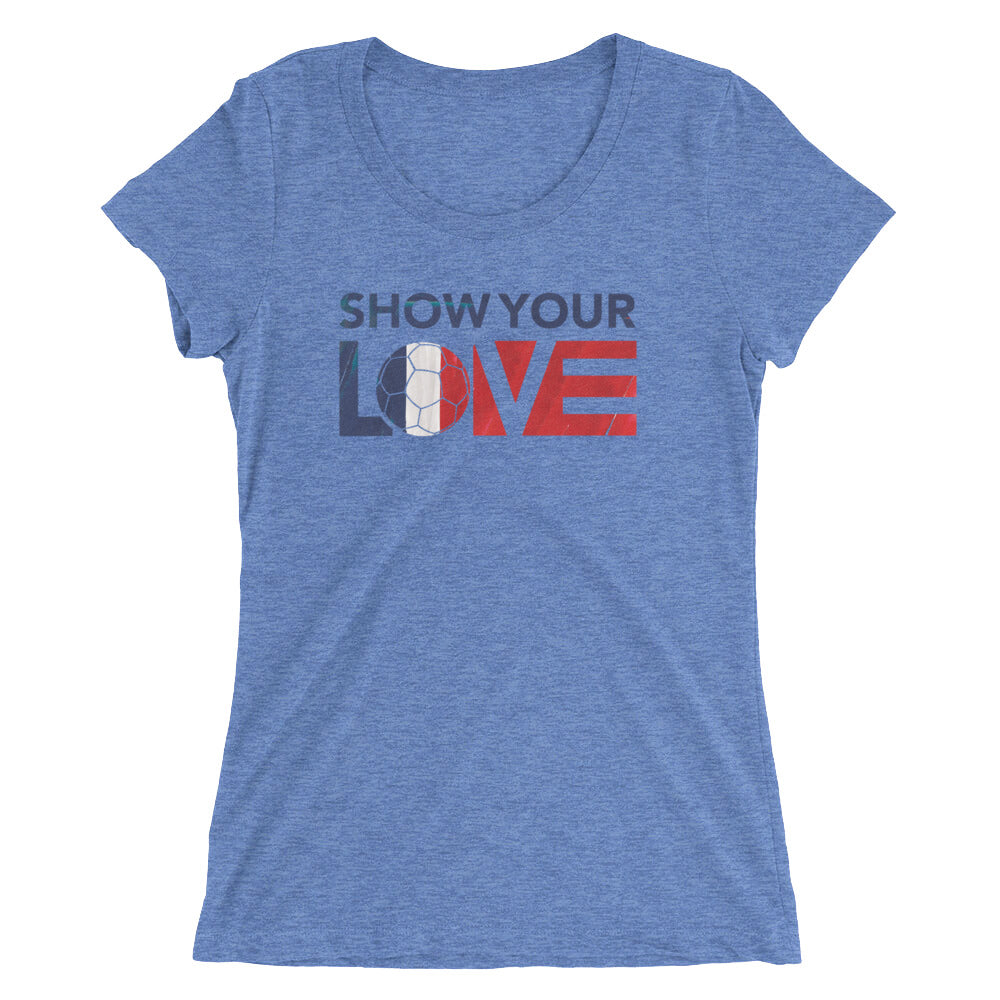 Blue Triblend Show Your Love France Ultra Slim Fit Tee
