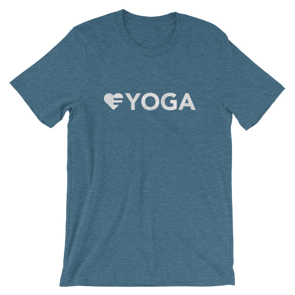 Deep teal Heart=Yoga Unisex Tee