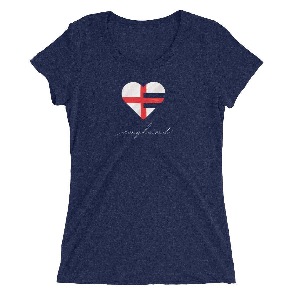 Navy England Heart Slim Fit Triblend