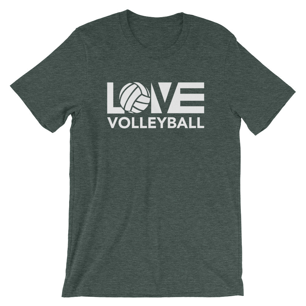 Heather Forest LOV=Volleyball Unisex Tee