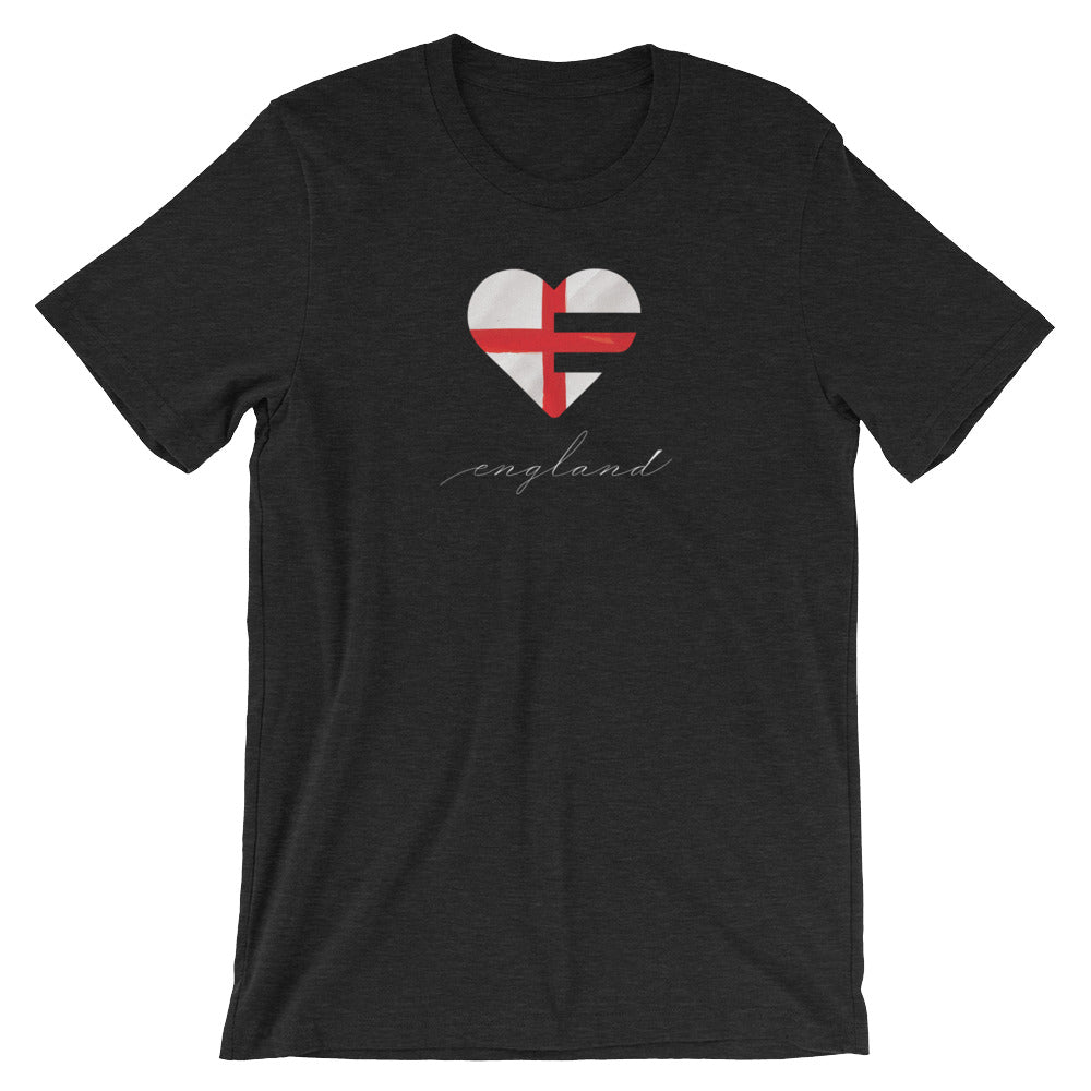 Black Heather England Heart Unisex Tee