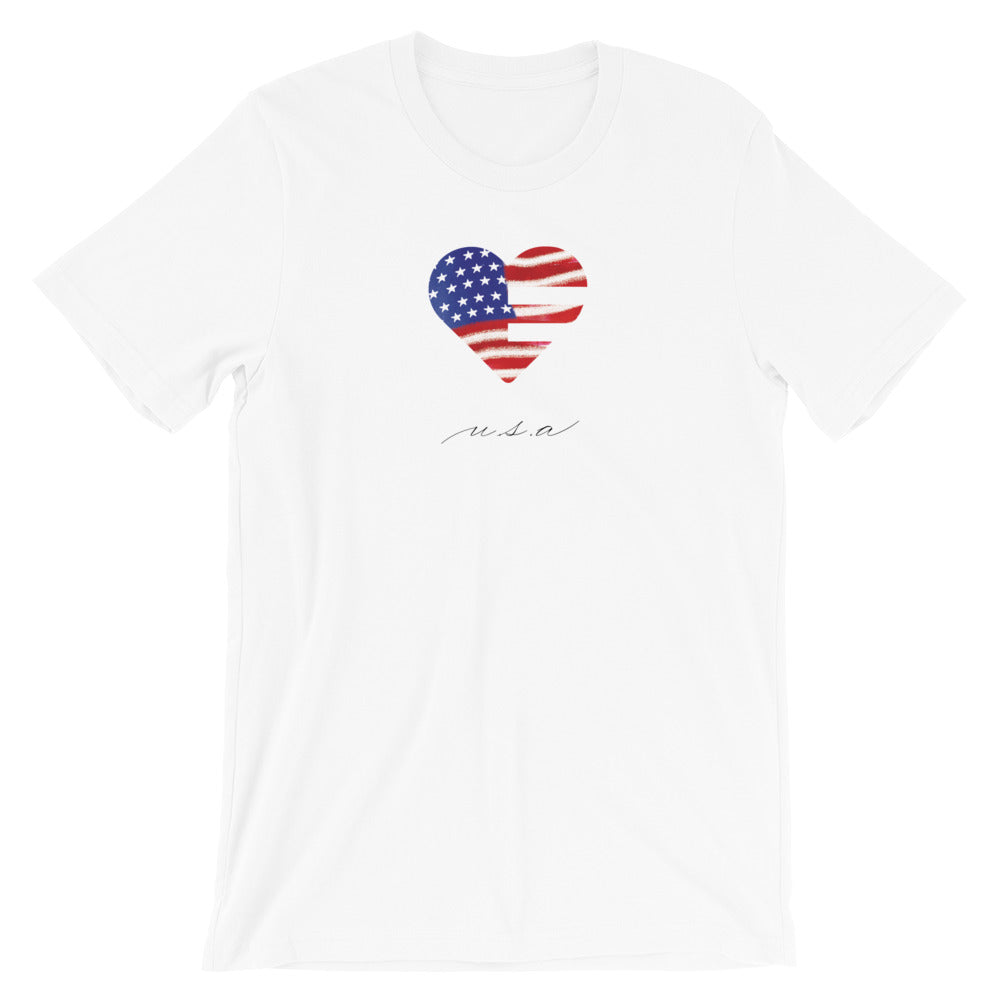 White USA Heart Unisex Tee