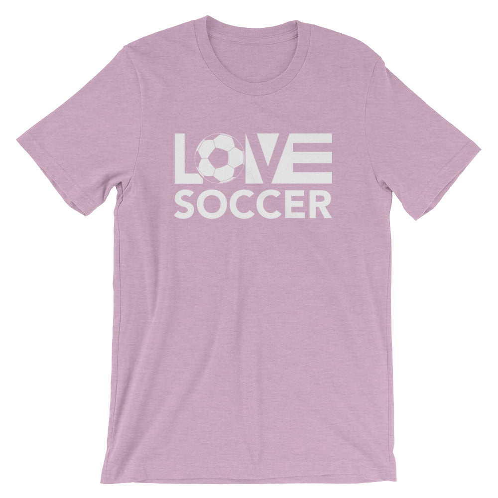 Heather Prism Lilac LOV=Soccer Unisex Tee