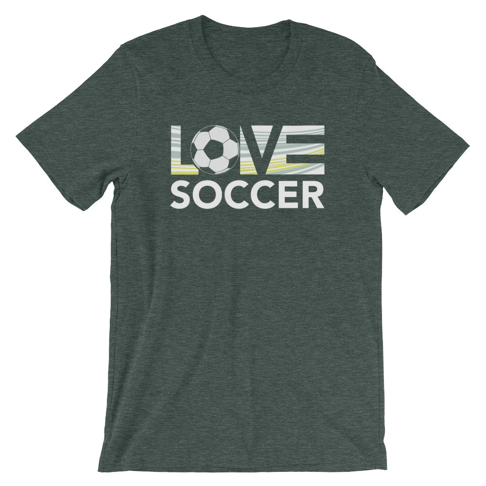 Heather forest LOV=Soccer Unisex Tee