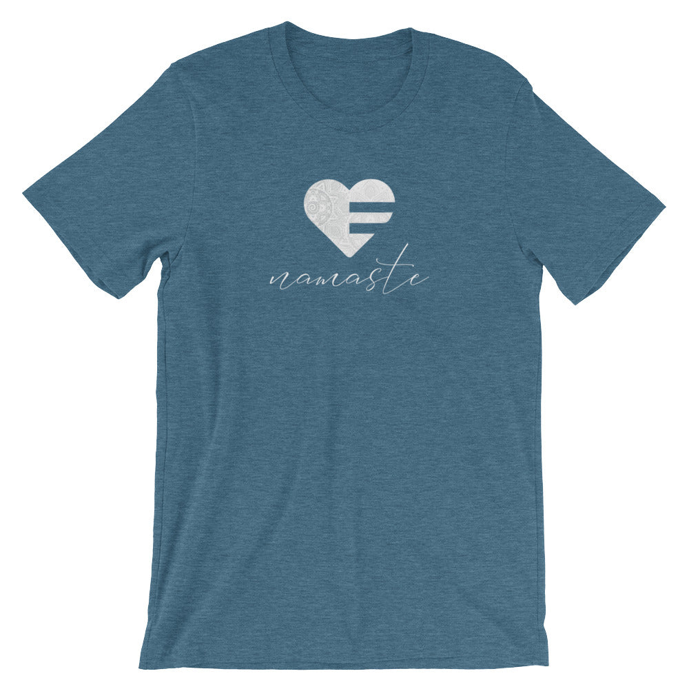 Heather Deep Teal Heart Namaste Unisex Tee
