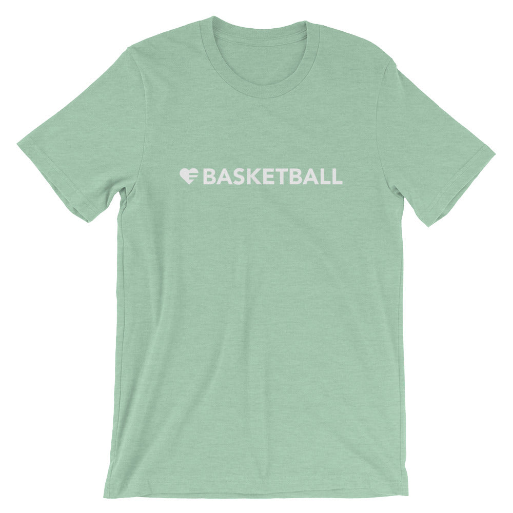 Heather Prism Mint Heart=Basketball Unisex Tee