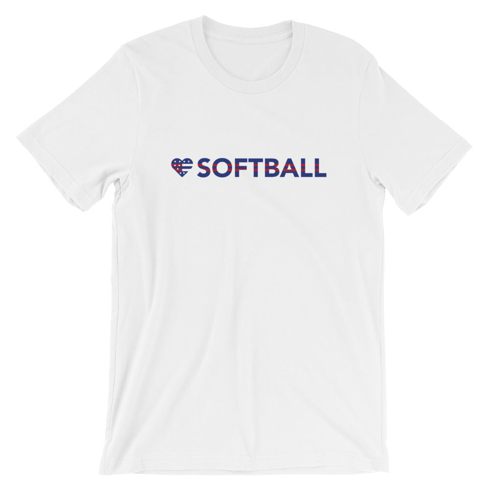 White Heart=Softball Unisex Tee