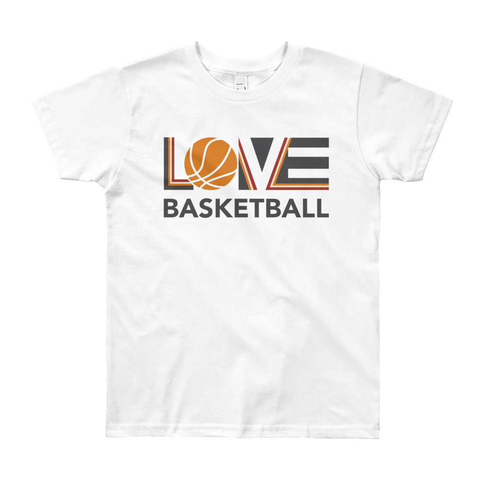 White LOV=Basketball Youth Tee